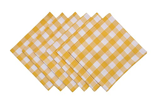 Yourtablecloth Buffalo Plaid 100% Cotton Cloth Checkered Dinner Table Napkins – Vibrant Colors – Soft & Super Absorbent Napkins 20 x 20 Set of 6 Yellow and White