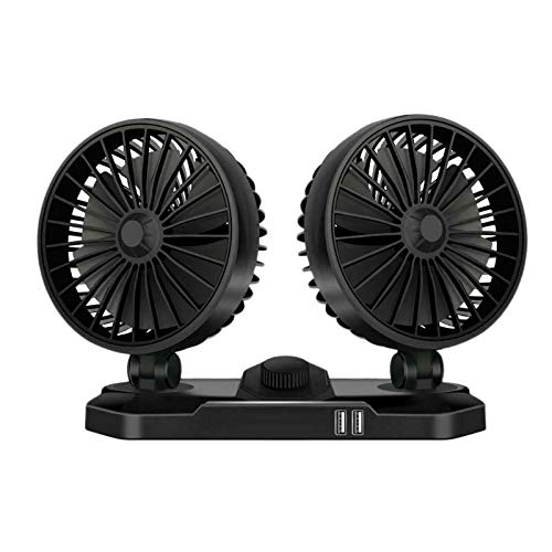WOVELOT Ventilador de Enfriamiento del Tablero de Instrumentos de 24 V para AutomóVil con Cargador USB Dual 360 de Dos Cabezales y 2 Velocidades para SUV Universal