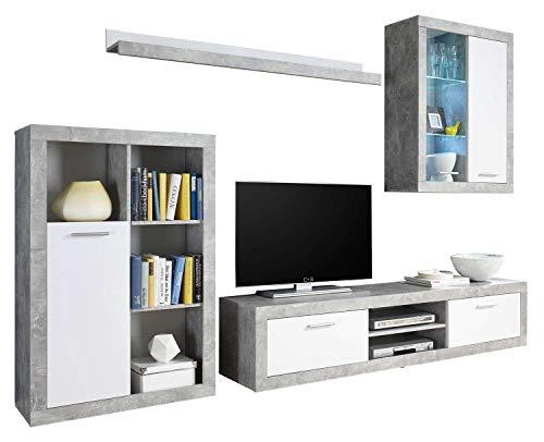 AVANTI TRENDSTORE - Mero - Parete da Soggiorno con Illuminazione LED Compresa, Disponibile in 2 Diversi Colori (Grigio-Bianco)