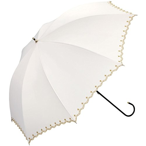 ワールドパーティ 遮光 全3色 長傘 手開き 日傘 晴雨兼用 星柄スカラップ オフ 8本骨 50cm UVカット [0805]