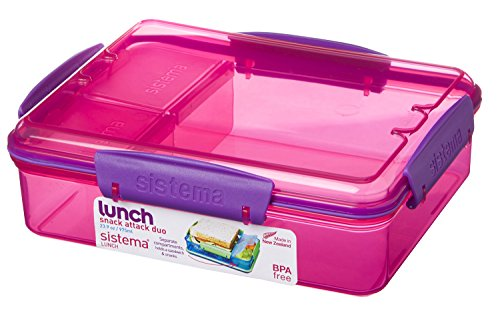Sistema 975ml Multi Compartment Snack Attack Duo Lunch Box, Pink by Online Kitchenware