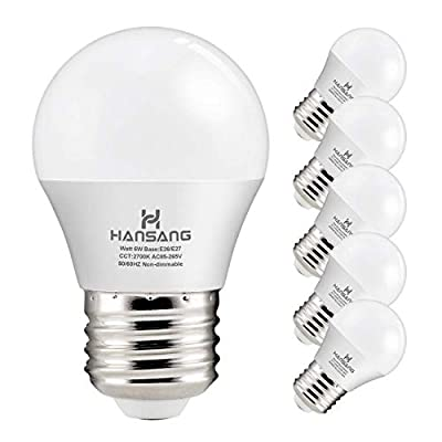 Hansang A15 LED Bulb Light 6 Watt (60w Equivalent),E26 Base,G45 Bulb,Ra83 600lm 2700K Warm White 120V for Ceiling Droplight,House Lighting No Dimmable 6 Pack