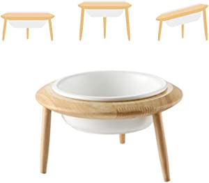 LIONWEI LIONWELI Ceramic Adjustable Elevated Raised Pet Bowl with Wood Stand for Cats and Dogs No Spill Pet Food Water Feeder (3 Installation Methods for Different Height)