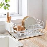 Égouttoir à vaisselle de cuisine avec plateau d'égouttement et support pour ustensiles de cuisine - élégant et bien conçu