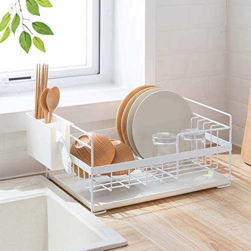 Escurridor de platos de cocina con bandeja de goteo, soporte de utensilios elegante y bien hecho, organizador de platos (color blanco)