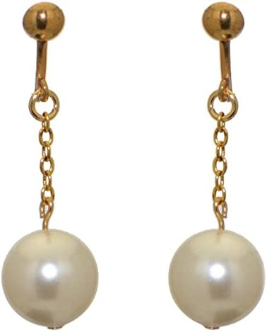 CHERRIES UNO gold plated cream faux pearl clip on earrings