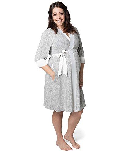 Kindred Bravely Emmaline Maternity & Nursing Robe Hospital Bag/Delivery Essential (Grey, Large, X-Large)