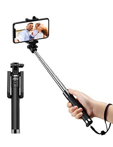 Mpow Palo Selfie Movil, Selfie Stick Bluetooth Diseño ligero, inalámbrico palo selfie con Bluetooth Remoto Compatible iPhone 11/11 Pro Max/XS Max /XR/X/8/7/ 6, Galaxy S10/S9/S8, etc