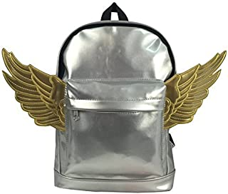 Cute & Casual   Kids Winged Fashion Backpack   Metallic Silver