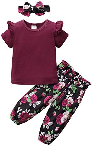 Toddler Baby Girl Clothes Ruffle Short Sleeve Baby Girls Clothing Top Long Floral Pants with product image