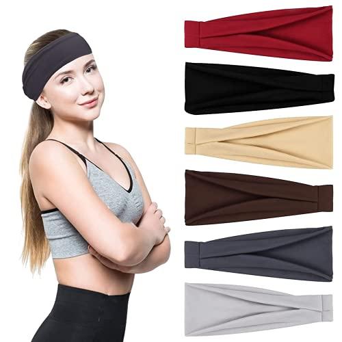 Cinta para el pelo para mujer, elástica, ancha, elástica, antideslizante, transpirable, adecuada para correr, fitness y yoga (6 unidades)