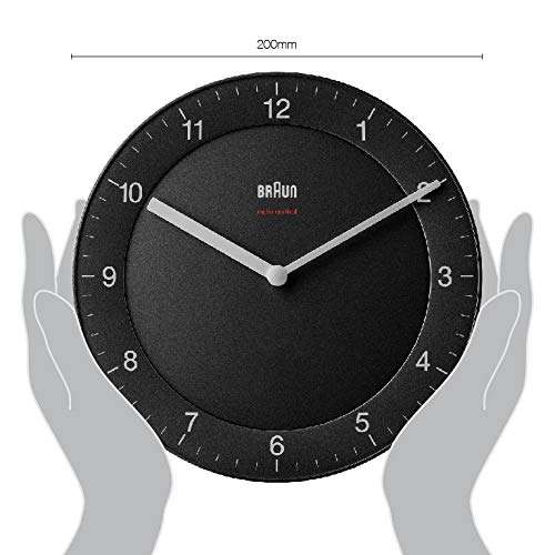 Braun Classic Radio Controlled Wall Clock for Central European Time Zone (DCF/GMT+1) with Quiet Movement, Easy to Read, 20cm Diameter in Black, Model BC06B-DCF, us:one Size
