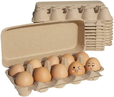 Natural Pulp Egg Cartons Biodegradable Pulp Fiber Egg Flats Holds Up to Ten Eggs Count Egg Holder product image