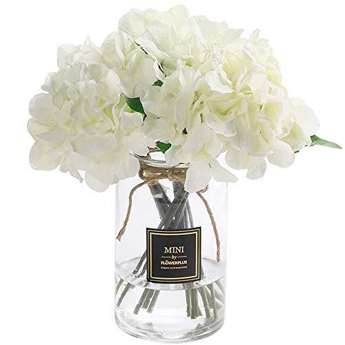 Veryhome Künstlich Hortensie Blüten Seide Gefälschte Blume Blumenstrauß Arrangieren Familie Hochzeit Garten Blume Dekoration Hortensie ( Weißer Hortensienbündel - 2 Stück )