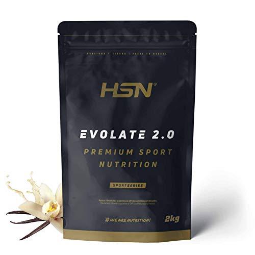 Aislado de Proteína de Suero de HSN Evolate 2.0   Whey Protein Isolate   Proteína CFM + Enzimas Digestivas (Digezyme) + Ganar Masa Muscular   Vegetariana, Sin Gluten, Sin Soja, Vainilla, 2Kg