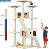 Cat Tree Cat Tower Cat Condo 72 inches Tall Multi-Level Playpen House Kitty Activity Tree Center with Funny Toys,Multiple Colors (Beige)