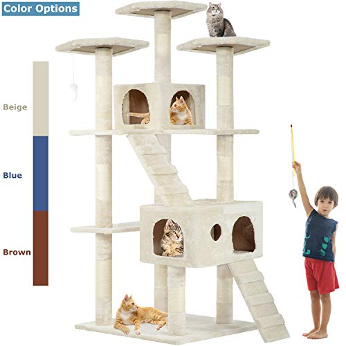 Cat Tree Cat Tower Cat Condo 72 inches Tall Multi-Level Playpen House Kitty Activity Tree Center...