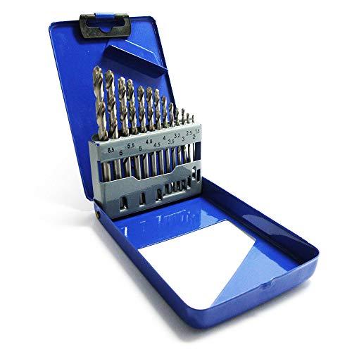 S&R Punte Trapano Metallo Acciaio HSS Rettificate per Ferro 1,5-6,5 mm, 118°, Set 13 Pezzi, Serie GM, DIN 338, HSS-Acciaio. Scatola di Metallo qualità Professionale