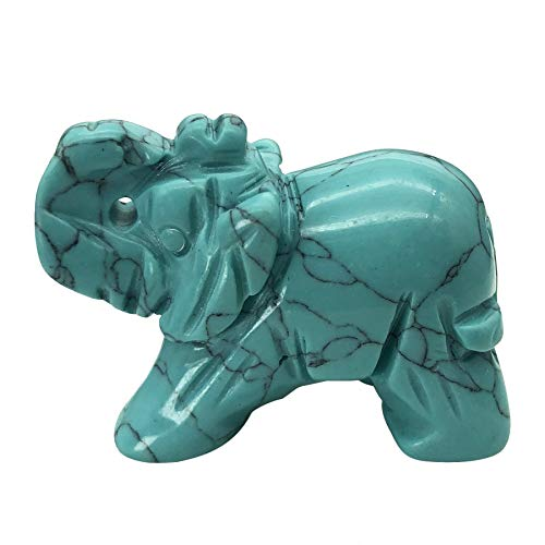 Fekuar 1.5' Hand Carved Healing Crystal Elephant Figurines, Lucky Pocket Stone Animal Statue Sculpture Home Decoration, Synthetic Green Howlite Turquoise