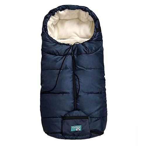Yobee Universal Cozy Fleece Stroller Footmuff, Winter Outdoor Tour Waterproof Baby Sleeping Bag, Anti-Slip, Adaptable for Almost Stroller, Pram, Navy