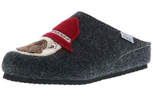 TOFEE Damen Hausschuhe Pantoffeln Pantoletten Naturwollfilz (Mops) anthrazit, Größe:38, Farbe:Anthrazit