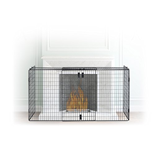 Relaxdays schoorsteenbeschermingsrooster, beschermrooster om vast te klemmen, haard rooster voor wandbevestiging, 160 cm breed, zwart