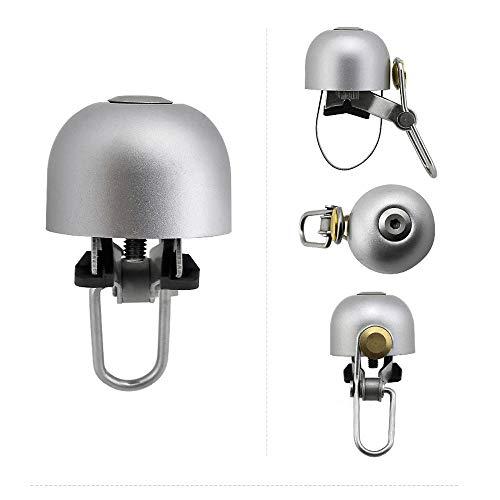 HUGEE Bike Bells - 2020 Mini Version Pure Metal Retro Cycling Handlebar Bells,Classic Light Weight Durable,Loud Crisp Clear Sound,For Mountain Bike, Road Bike, BMX, MTB (Silver)