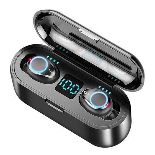 voloki 2019 F9 TWS - Auriculares inalámbricos Bluetooth 5.0, Pantalla Digital táctil 8D Surround estéreo, Mini Auriculares Invisibles de Doble micrófono