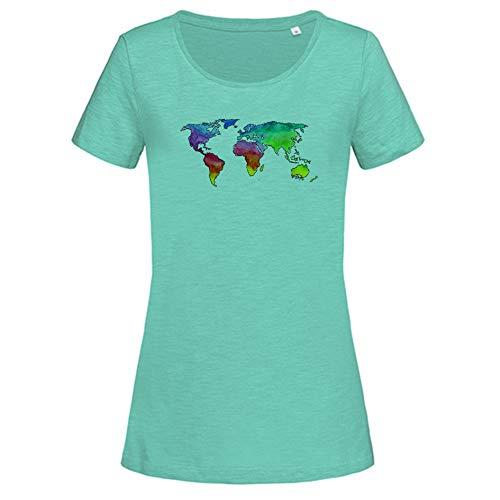 Maglietta da donna con mappa del mondo acquerello, in cotone Bahama Green S