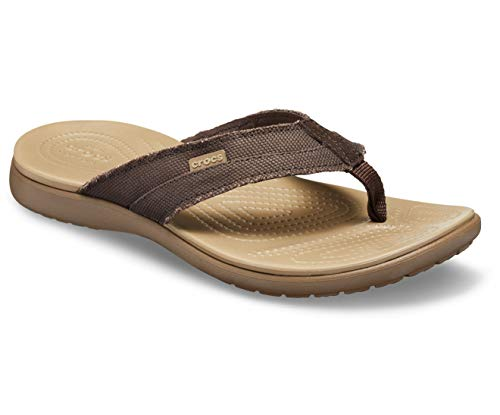 crocs Men Santa Cruz Espresso/Khaki Flip-Flops-8 UK (42.5...