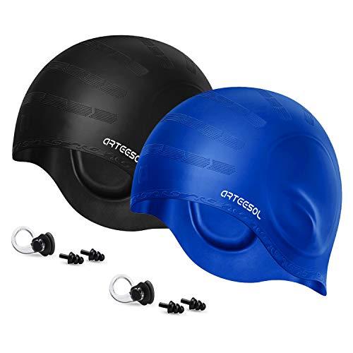 arteesol Swimming Cap, Silicone Swim Cap for Women Men, Durable Non-Slip Waterproof Swim Cap Protect...