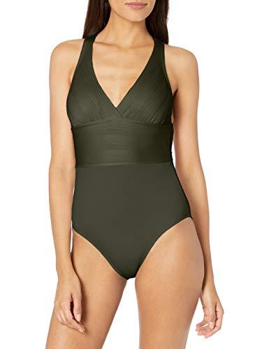 La Blanca Women's Multi Strap Cross Back One Piece Swimsuit, Olive//Lets Duet, 16