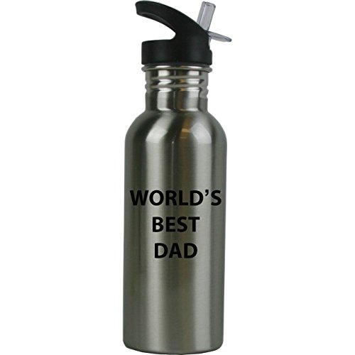 Engraved Cases World's Best Dad Stainless Steel Silver Water Bottle - Great Gift for Father's Day, Birthday for Dad, Grandpa, Papa, Husband