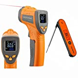 INKBIRD Infrared Thermometer Digital Laser Temperature Gun -58℉~1022℉ INK-IFT01 and Instant Read Meat Thermometer IHT-1P - Adjustable Emissivity Thermometers Gun for Cooking BBQ Oven Pizza