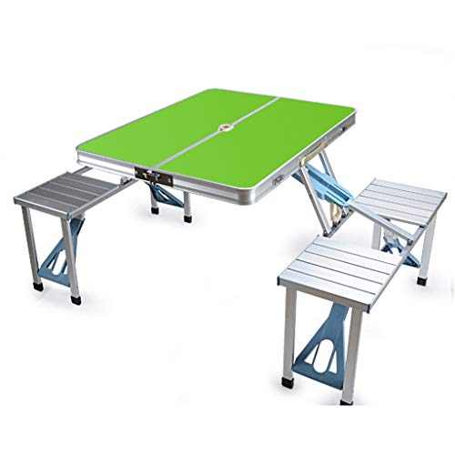 Portable Folding Lijst en stoelen die, Koffer Ontwerp Het kamperen Garden BBQ MDF Fire Board Aluminium Ideaal voor binnen en buiten,Green