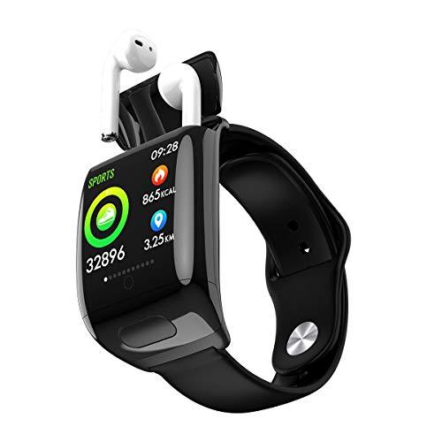 Reloj inteligente con auriculares Bluetooth 2 en 1, monitor de frecuencia cardíaca, reloj impermeable con monitor de sueño para mujeres y hombres (negro)