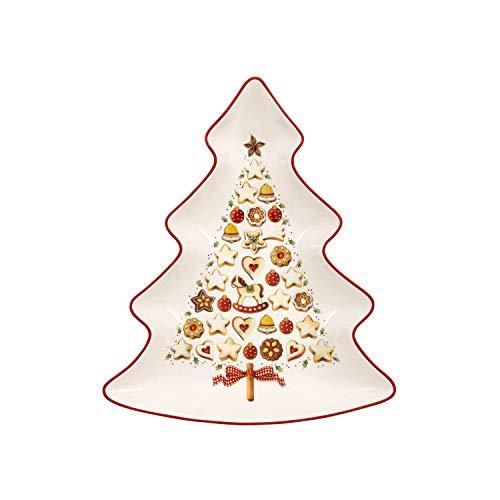 Villeroy & Boch Winter Bakery Delight Grande coupelle en forme de sapin, Porcelaine Premium, Blanc/Rouge