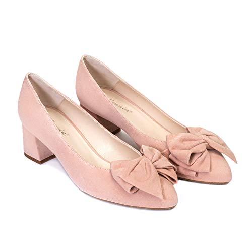 Kiara - Salones Elegantes de Vestir para Mujer en Piel con Lazo y Punta Fina - Hechos en España - Tacon Bajo Ancho 5 cm - Moda Zapatos Tacones Casual - Ante Nude Maquillaje - Rosa 39 EU