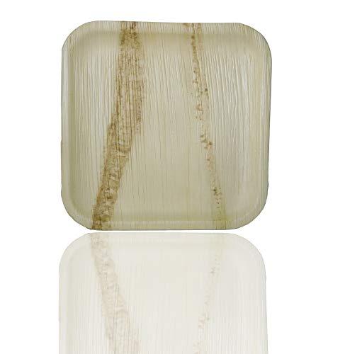 Palm Naki Quadratische Palmblattplatten - Einweg-Geschirrset, kompostierbare und biologisch abbaubare Teller - Palmblatt-Holzteller, 40-Zoll-Quadratplatten mit 10 Zoll