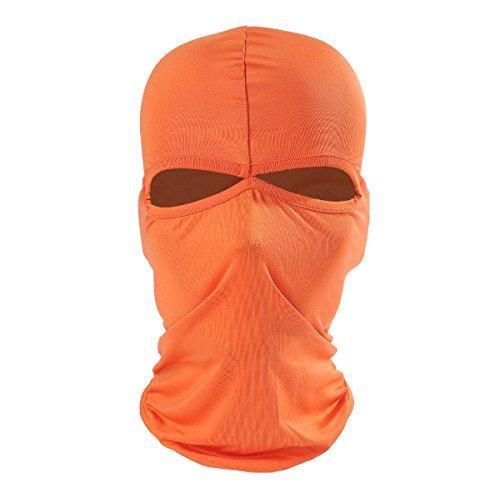 Ecyc extérieur Moto Vélo Ski Neck protéger respirant Lycra Cagoule Masque complet, Homme femme, A08:Orange