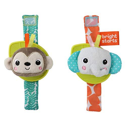 Bright Starts Rattle amp Teethe Wrist Pals Toy  Monkey amp Elephant Newborn