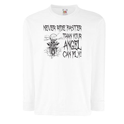 N4694D Kinder-T-Shirt mit Langen Ärmeln Motorrad-Angebote (5-6 Years Weiß Mehrfarben)