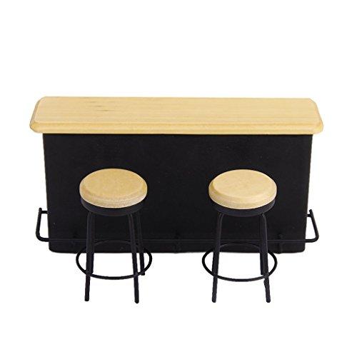 wivarra Mesa de Muebles y 2 sillas en Miniatura para 1/12 Casa de munecas
