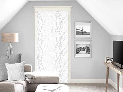 Soleil d'ocre Liane Brise-bise, Polyester, Blanc, 70 x 200 cm