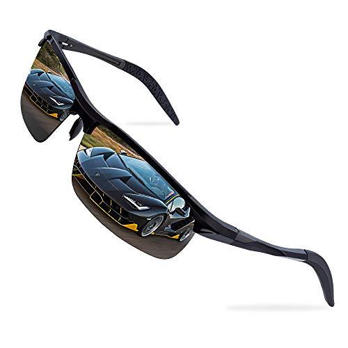 Polarisierte Sportbrille Sonnenbrille Fahrradbrille für Herren und Damen mit Al-Mg Metallrahme, Sportbrille für Autofahren Wandern Radfahren Bootssport Golfen und Angeln, UV-Schutz, Ultra leicht
