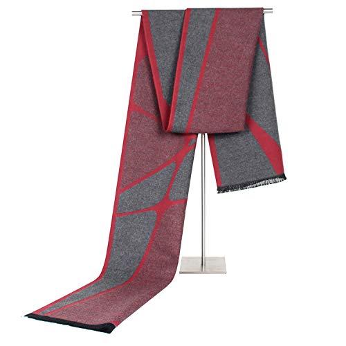 HAIMEI-WU Sciarpa Imitazione Cashmere Maschile Affari Atipico Motivo Geometrico Cuciture Nappa Tempo Libero Bavaglino Sciarpa (Color : Red Gray)