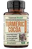 Turmeric Curcumin 600 mg Raw Cocoa (Cacao) Powder Supplement. Heart Health, Brain Support, Inflammatory Response, Improves Memory 60 capsules