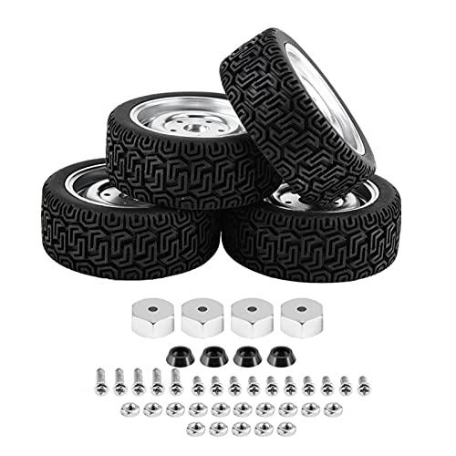 Surebuy Neumáticos fáciles de Transportar Fácil de Usar para WPL B14 B24(Metal 4-Hole Silver 7-Shaped Tire WPL1649S)