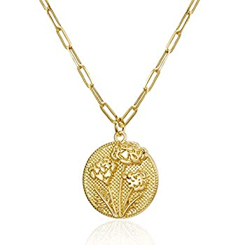 Harlermoon Birth Month Flower Necklace Paperclip Chain Minimalist Embossed Floral Coin Pendant Necklace Jewelry for Women Girls  Oct.-Marigold