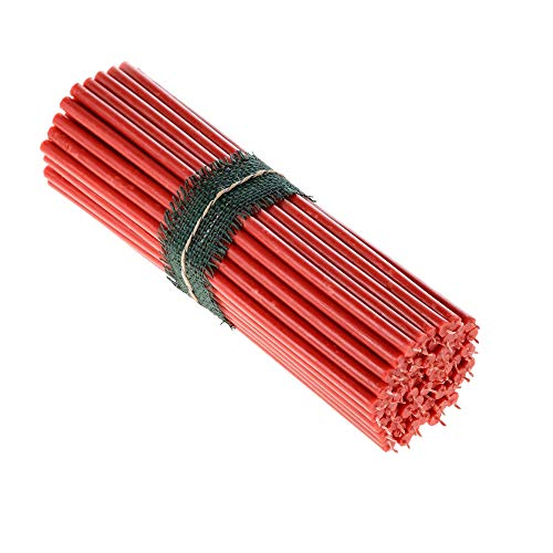 Danilovo Beeswax Taper Candles (Red) - Orthodox Church Candle Tapers for Prayer, Ritual, Christmas - No Soot, Dripless, Tall, Bendable, N20, Height 30,5 cm, Ø 9,6 mm (75 pcs - 1500 g)